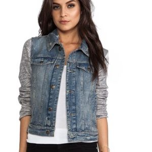 Free People Distressed Denim Knit Jacket